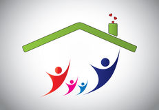Happy family of man, woman and children jumping jo. Y in home house. happiness of family with parents and kids with hands up in the air with house roof and Stock Photo