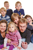 Happy family with many kids stock images