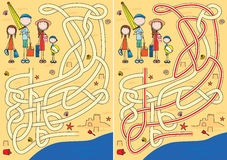 Happy family maze Stock Images