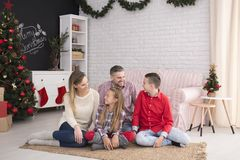Happy family during christmas meeting Royalty Free Stock Images