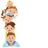 Happy family meeting and message Stock Photo