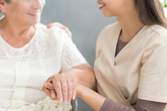 Happy family member and grandmother royalty free stock photography