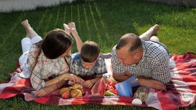Happy family members lie on stomach on red blanket at picnic. Happy family members lie on stomach on red blanket and enjoy picnic in green yard on summer day stock video