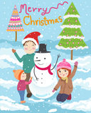 Happy family merry christmas  illustration Royalty Free Stock Photography