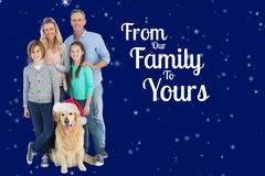Happy Family and Message on Blue Background Design Stock Images