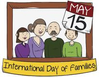 Happy Family with Middle Age Parents Celebrating International Families` Day, Vector Illustration vector illustration