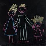 Happy family (Mom, Dad, baby.). Cute doodles on blackboard royalty free illustration