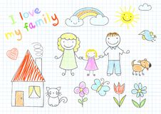 Happy family - mom, dad and daughter. Walking holding hands. Sketch in doodle style. ESP8 royalty free illustration