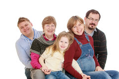 Happy family mom dad grandma brother and sister Royalty Free Stock Image