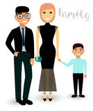 A happy family is mom, dad and son in festive clothes. Vector. Stock Images
