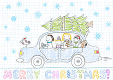 Happy family - mom, dad and two children in car Stock Image