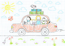 Happy family - mom, dad and two children in car Stock Photo