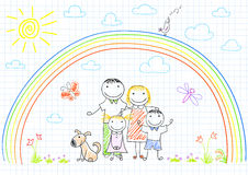 Happy family - mom, dad and two children Royalty Free Stock Image