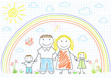 Happy family - mom, dad and two children Stock Photos