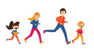 Happy family of mom, dad and two kids running in sport clothes. Isolated on white flat  illustration Stock Image
