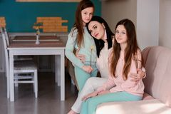 Happy family, mom and daughters royalty free stock photography