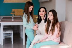 Happy family, mom and daughters royalty free stock image
