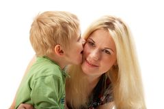 Happy family: Mom and son. Royalty Free Stock Images