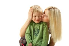 Happy family: Mom and son. Royalty Free Stock Image