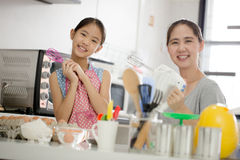 Happy family moment in kitchen Royalty Free Stock Images