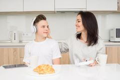 Happy family in the morning Royalty Free Stock Image