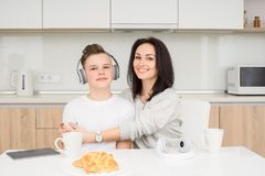 Happy family in the morning Royalty Free Stock Images