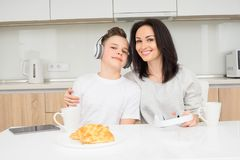 Happy family in the morning Stock Photography