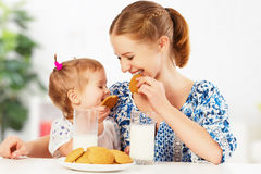 Free Happy Family Mother And Baby Daughter Girl At Breakfast: Biscuit Stock Photography - 66499902