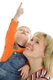 Happy Family Mother And Baby Show Finger Up Stock Photography