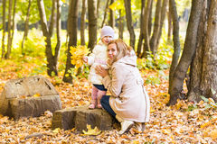 Happy family mother and baby laugh with leaves in nature autumn Stock Image