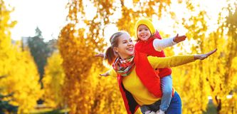 Happy family mother and child daughter on autumn walk Royalty Free Stock Photography