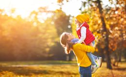 Happy family mother and child daughter on   autumn walk Stock Photography