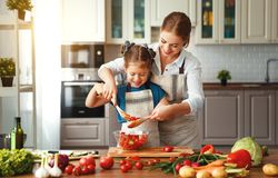Happy family mother with child girl preparing vegetable salad. Happy family mother with child girl   preparing vegetable salad at home stock photography