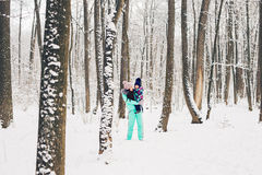 Happy family. Mother and child girl on a winter walk in nature. Happy family. Mother and child girl on a winter walk in nature Stock Images