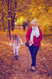 Happy family mother and child little daughter on autumn walk. Happy family mother and child little daughter running and playing on autumn walk Stock Photography