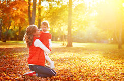 Happy family: mother and child little daughter play, laughing cu Royalty Free Stock Image