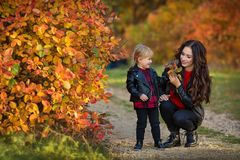 Happy family mother and child little daughter running and playing on autumn walk stock photo