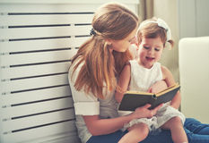 Happy family mother child little girl reading  book Royalty Free Stock Image