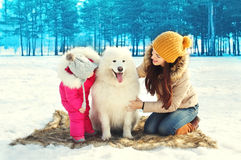 Happy family mother and child with white Samoyed dog in winter Royalty Free Stock Photography