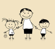 Happy family, mother and children, drawing sketch vector illustration