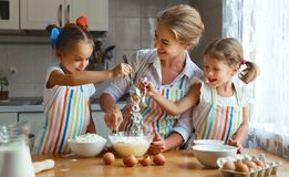 Happy family mother and children twins   bake kneading dough in Royalty Free Stock Images