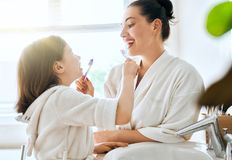 Family are brushing teeth Royalty Free Stock Photography