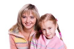 Happy family -  mother and daughter are embracing. Stock Photography