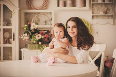 Happy family mother and daughter indoor Royalty Free Stock Images