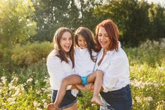 Happy family, mother with daughters Royalty Free Stock Photography