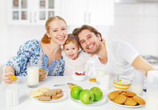 Happy Family Mother, Father, Child Baby Daughter Having Breakfast Stock Images