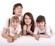 Happy family: mother, father, daughter, son. Royalty Free Stock Image