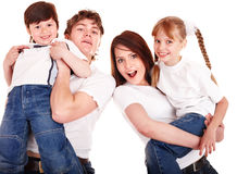 Happy family mother, father, daughter and son. Royalty Free Stock Photos