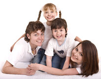 Happy family: mother, father, daughter, son. Royalty Free Stock Images