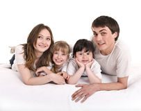 Happy family mother, father, daughter  and son. Stock Images